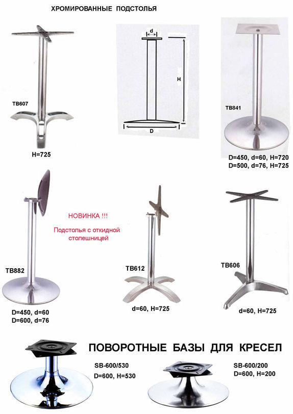 Хромированные комплектующие для барных столов (стр.1)
